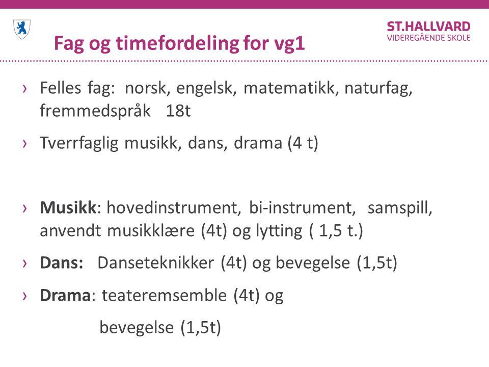 Fag og timefordeling for vg1