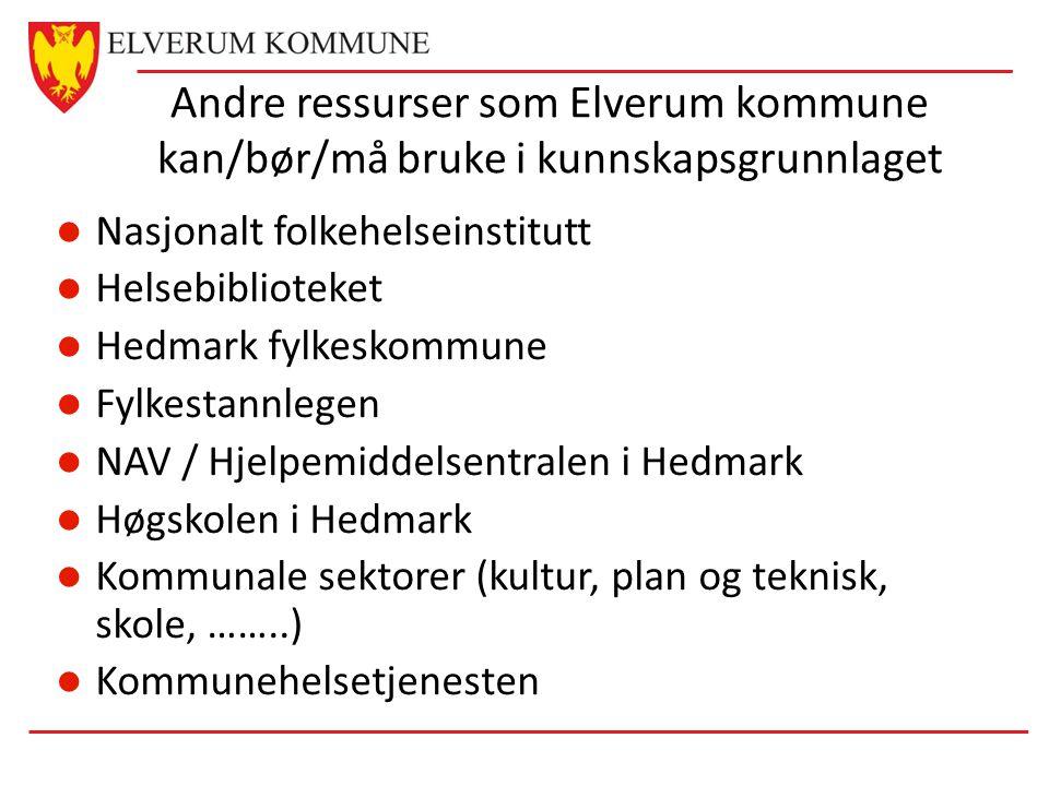 Andre ressurser som Elverum kommune kan/bør/må bruke i kunnskapsgrunnlaget