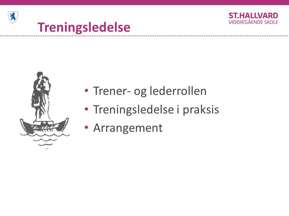 Treningsledelse Trener- og lederrollen Treningsledelse i praksis