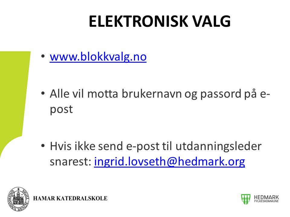 ELEKTRONISK VALG www.blokkvalg.no