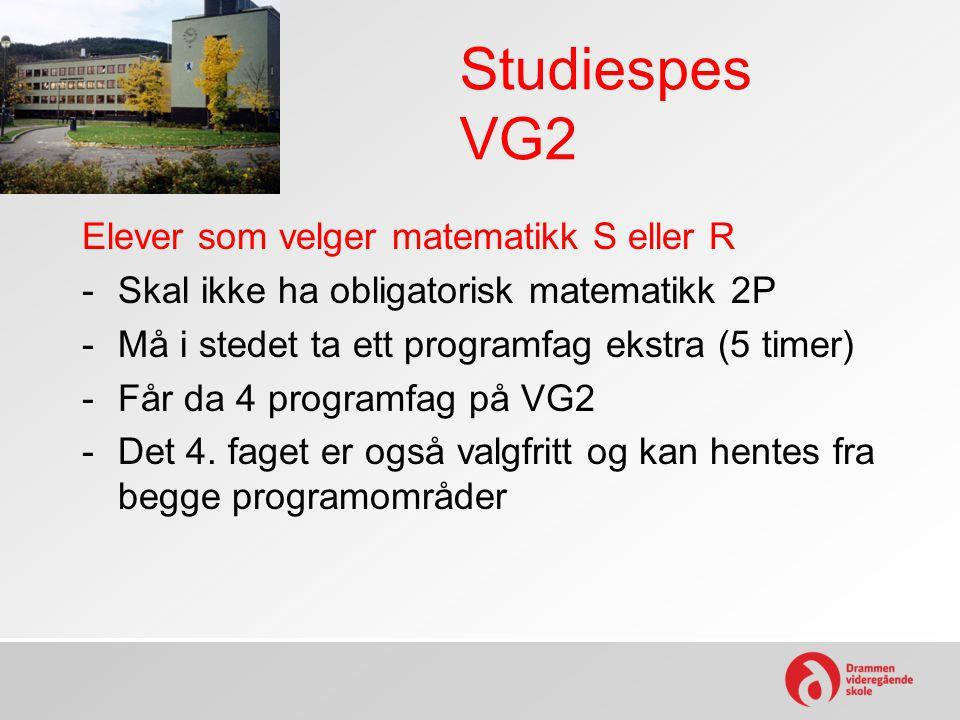 Studiespes VG2 Elever som velger matematikk S eller R