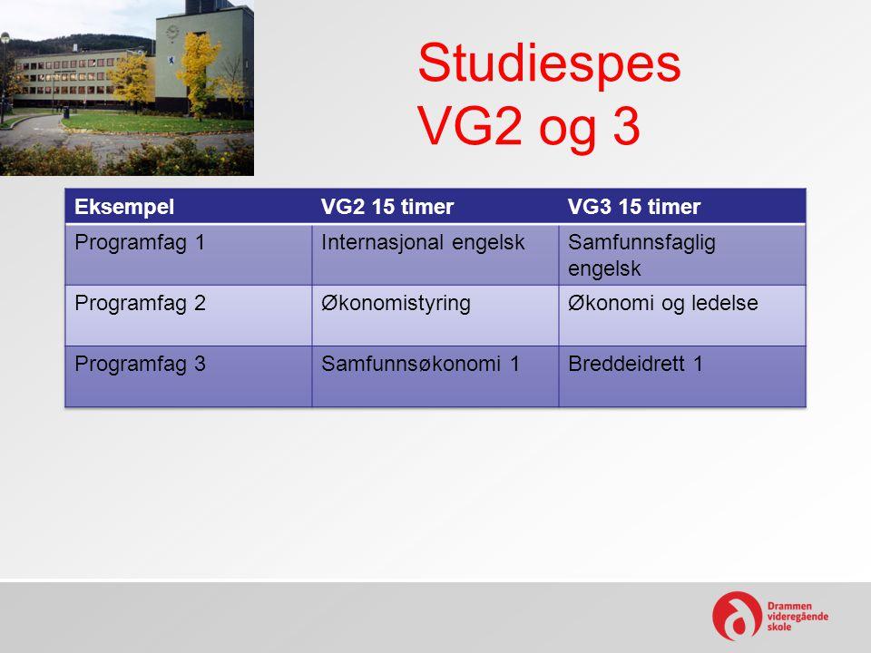 Studiespes VG2 og 3 Eksempel VG2 15 timer VG3 15 timer Programfag 1