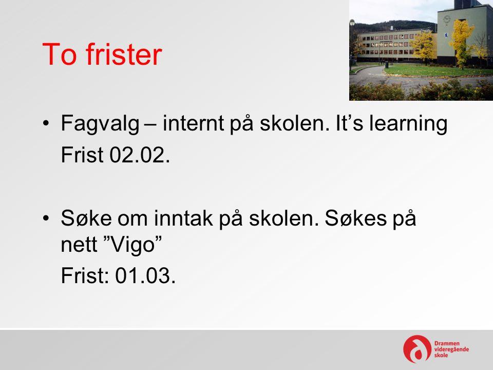 To frister Fagvalg – internt på skolen. It's learning Frist 02.02.