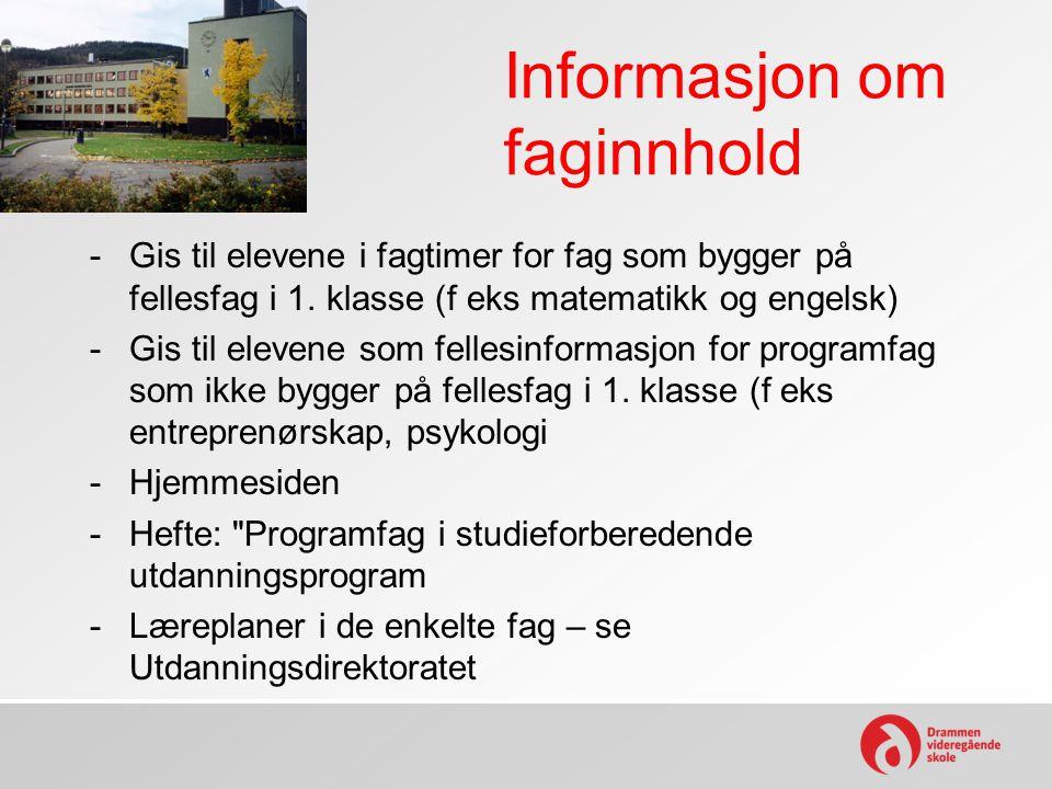 Informasjon om faginnhold