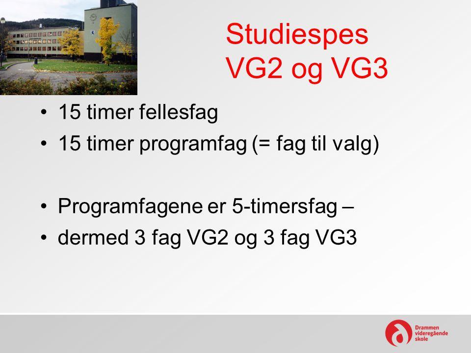 Studiespes VG2 og VG3 15 timer fellesfag