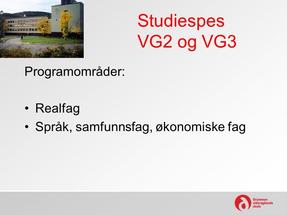 Studiespes VG2 og VG3 Programområder: Realfag