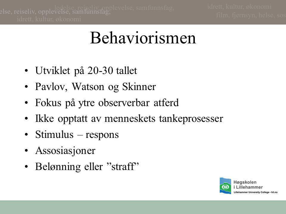 Behaviorismen Utviklet på 20-30 tallet Pavlov, Watson og Skinner
