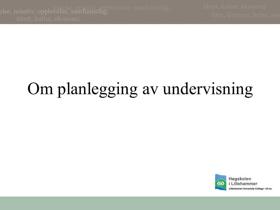 Om planlegging av undervisning