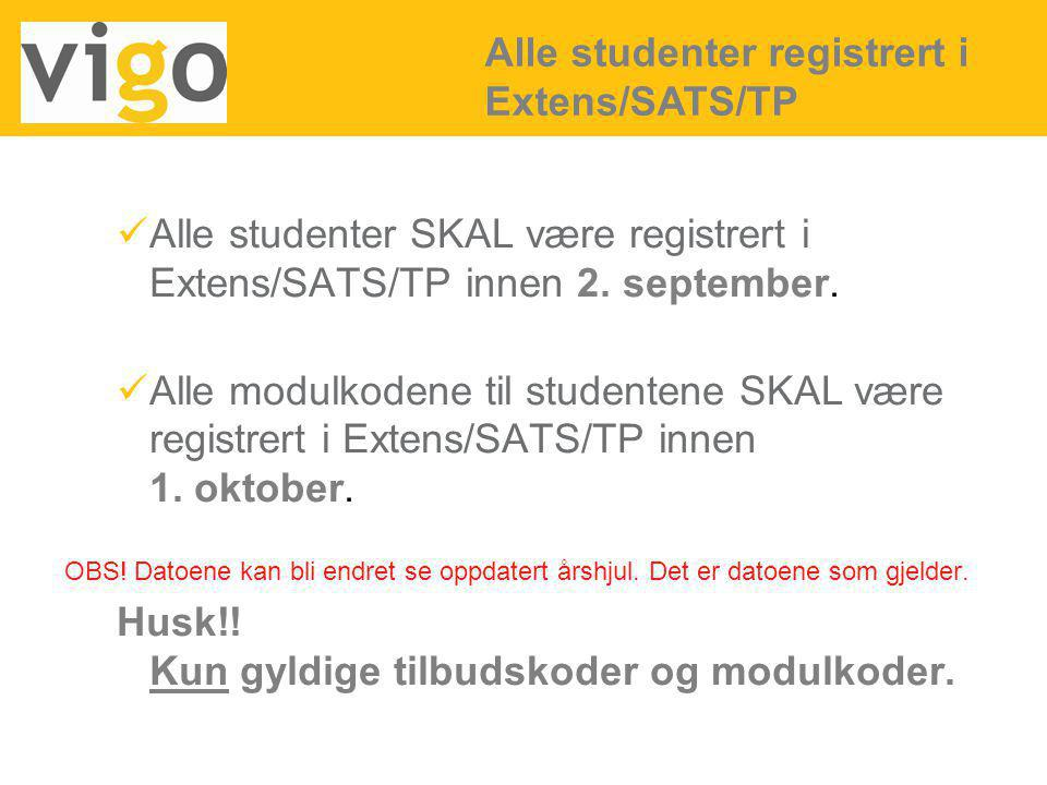 Alle studenter registrert i Extens/SATS/TP