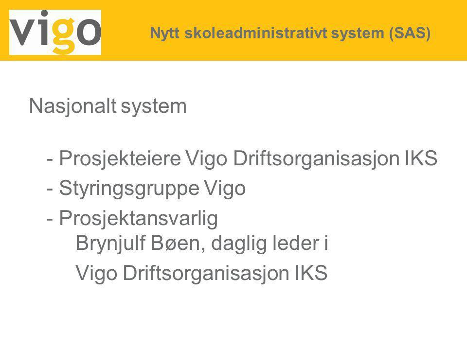 - Prosjekteiere Vigo Driftsorganisasjon IKS - Styringsgruppe Vigo