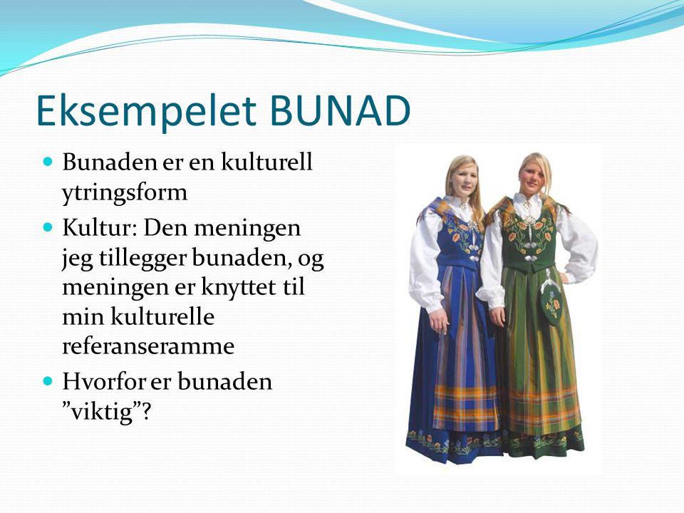 Eksempelet BUNAD Bunaden er en kulturell ytringsform