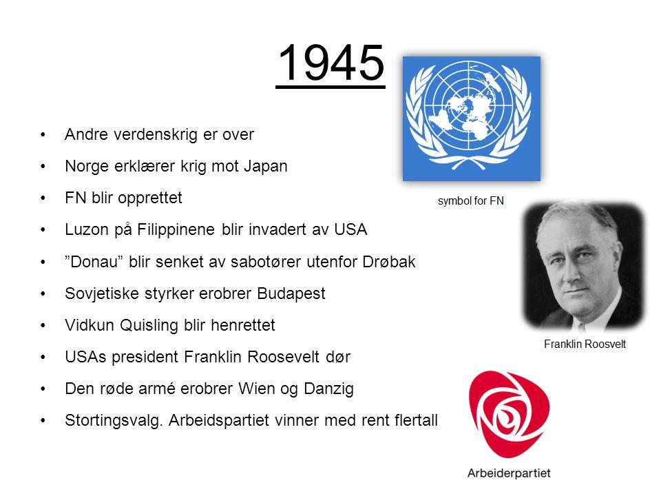 1945 Andre verdenskrig er over Norge erklærer krig mot Japan