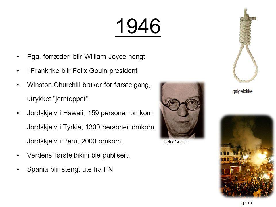 1946 Pga. forræderi blir William Joyce hengt