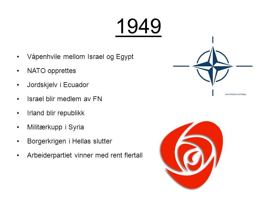 1949 Våpenhvile mellom Israel og Egypt NATO opprettes