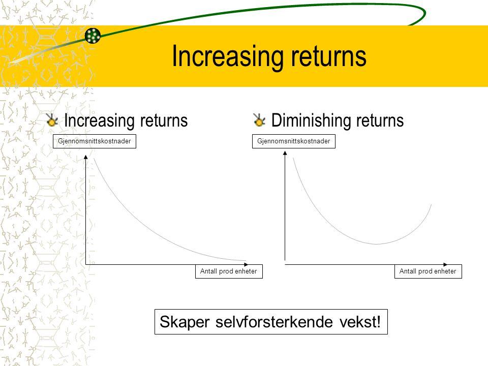 Increasing returns Increasing returns Diminishing returns