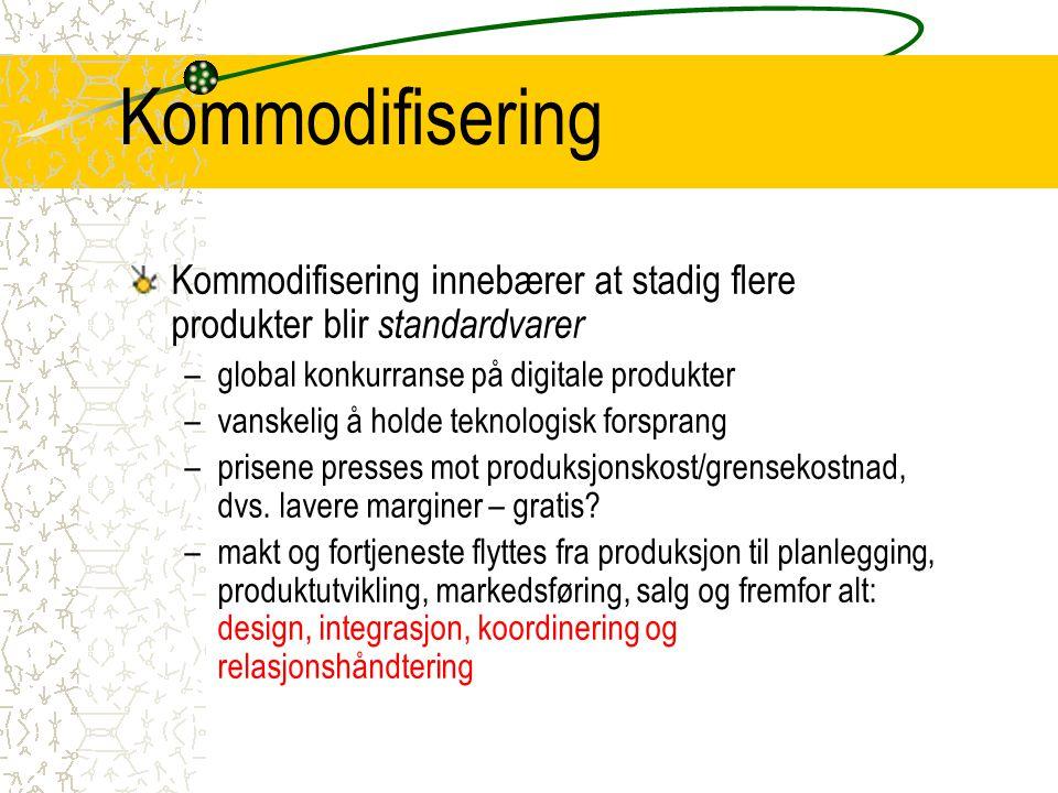 Kommodifisering Kommodifisering innebærer at stadig flere produkter blir standardvarer. global konkurranse på digitale produkter.