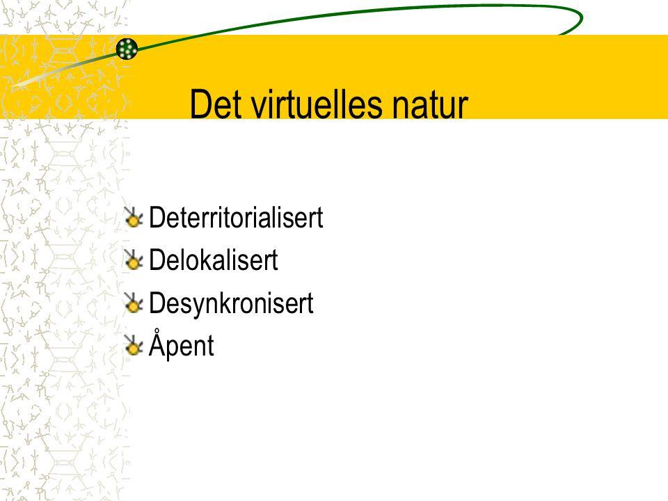 Det virtuelles natur Deterritorialisert Delokalisert Desynkronisert