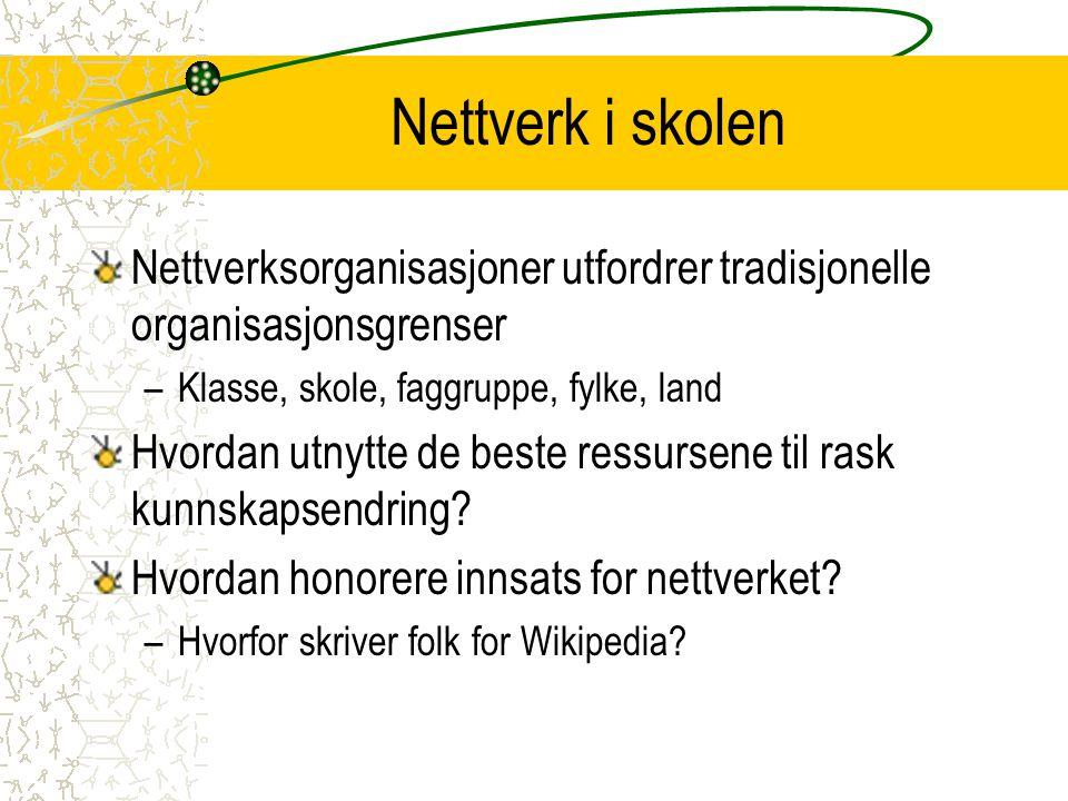 Nettverk i skolen Nettverksorganisasjoner utfordrer tradisjonelle organisasjonsgrenser. Klasse, skole, faggruppe, fylke, land.