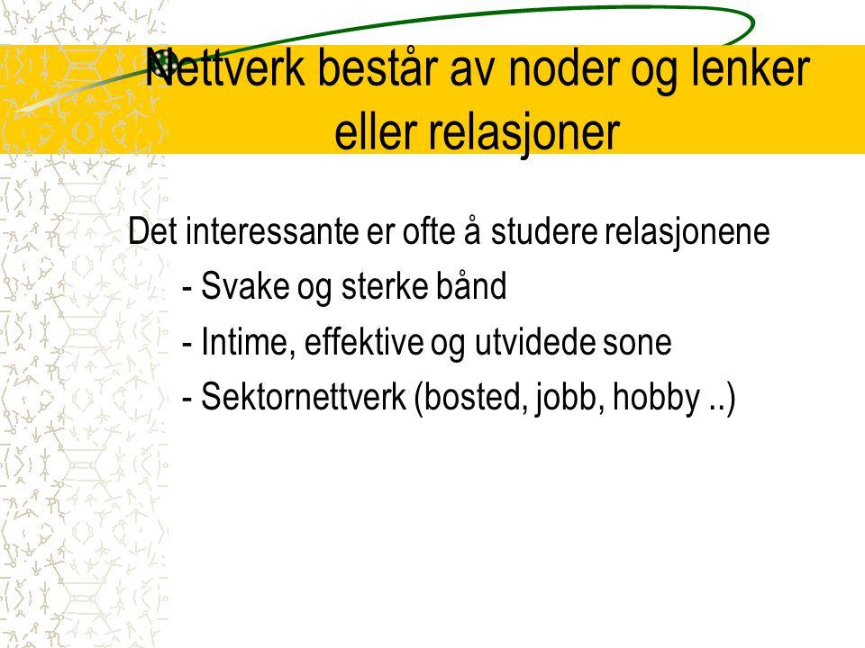Nettverk består av noder og lenker eller relasjoner