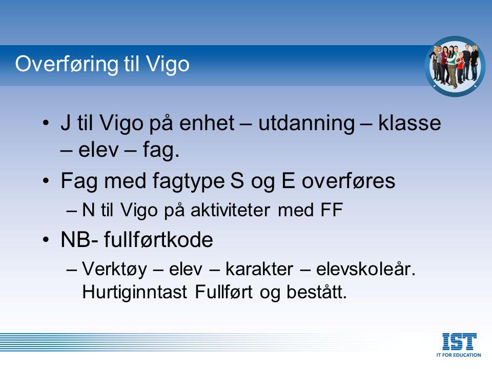J til Vigo på enhet – utdanning – klasse – elev – fag.