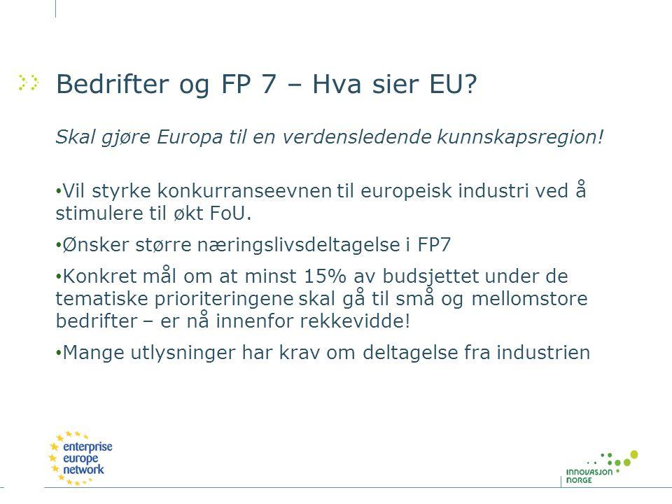 Bedrifter og FP 7 – Hva sier EU