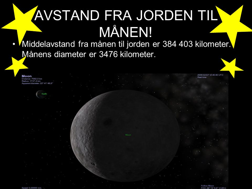 AVSTAND FRA JORDEN TIL MÅNEN!
