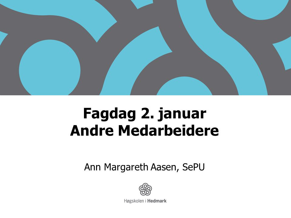 Fagdag 2. januar Andre Medarbeidere
