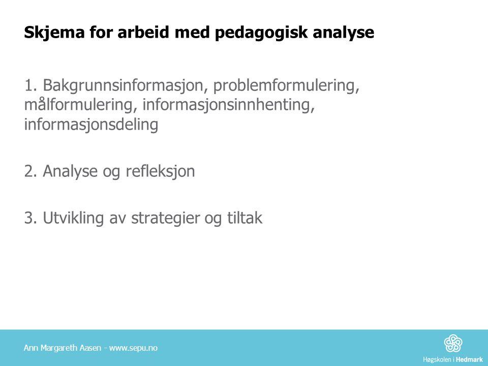 Skjema for arbeid med pedagogisk analyse