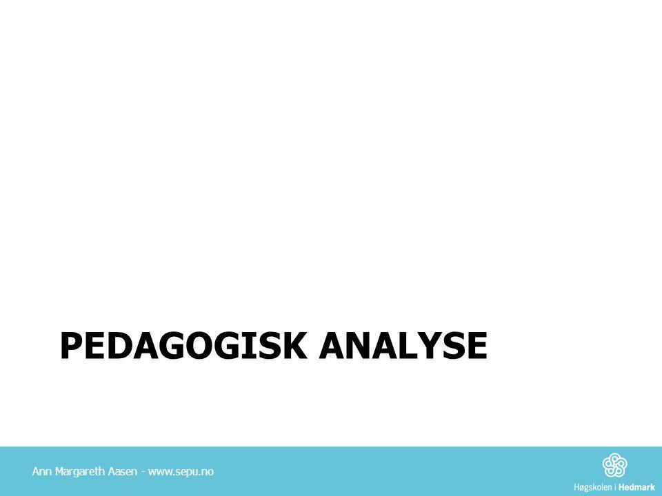 Pedagogisk analyse Ann Margareth Aasen - www.sepu.no