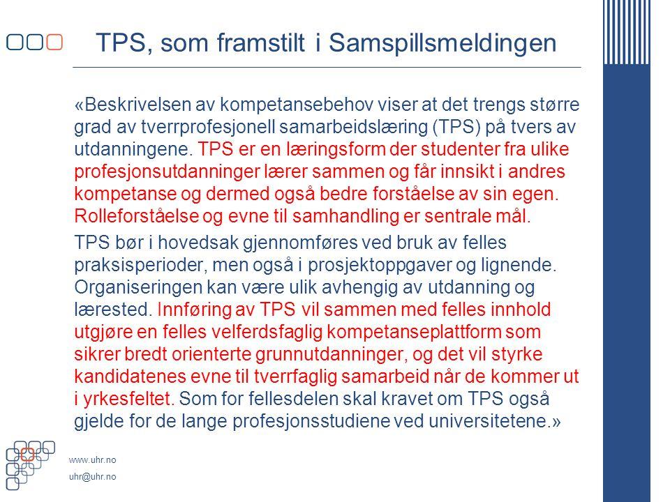 TPS, som framstilt i Samspillsmeldingen