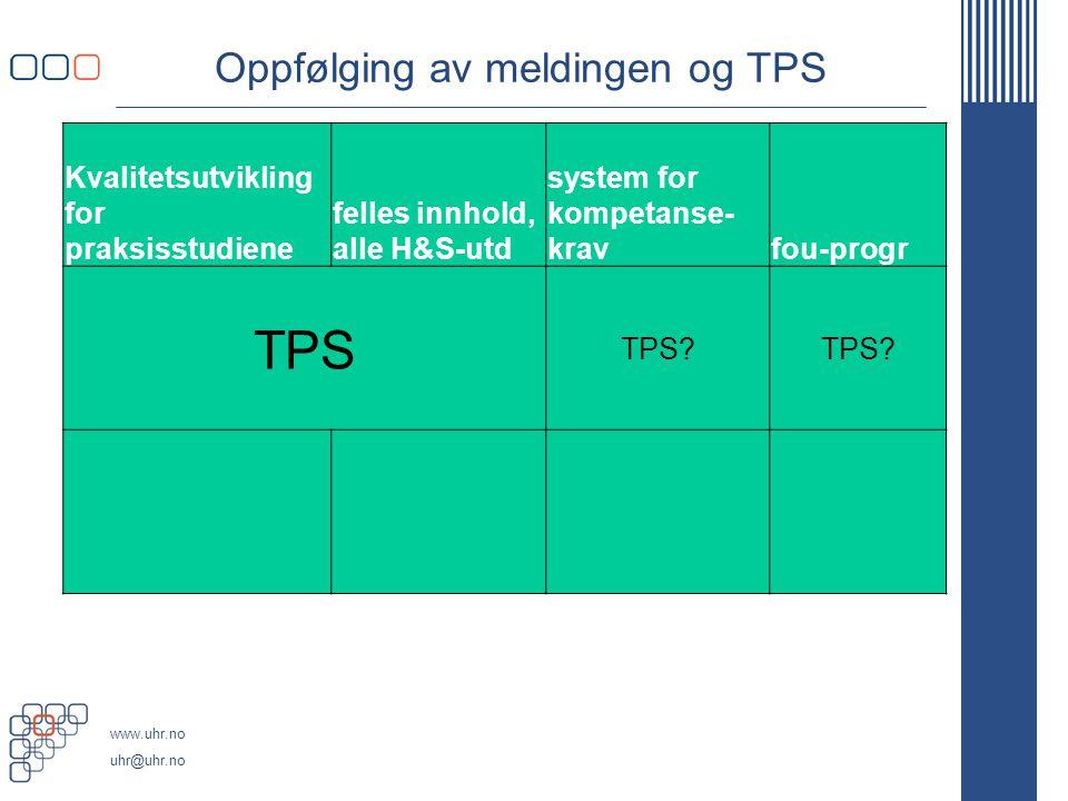Oppfølging av meldingen og TPS
