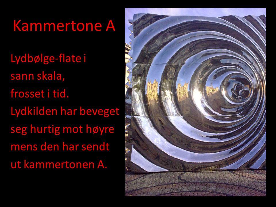 Kammertone A Lydbølge-flate i sann skala, frosset i tid.