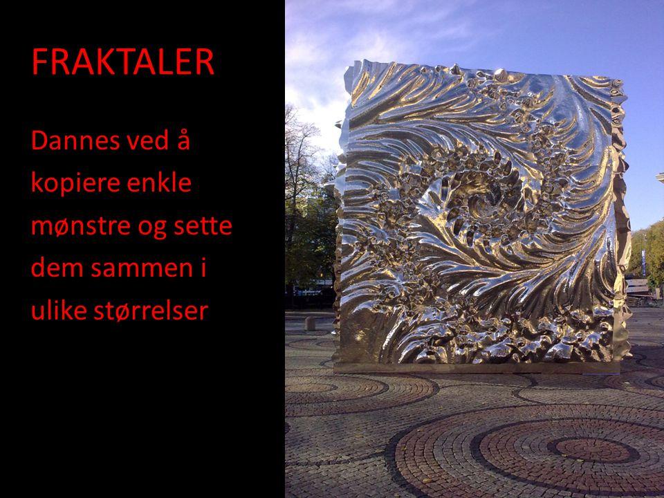 FRAKTALER Dannes ved å kopiere enkle mønstre og sette dem sammen i ulike størrelser.