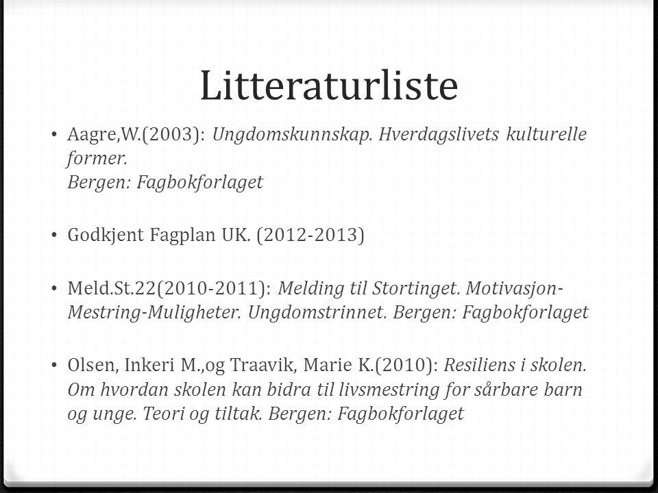 Litteraturliste Aagre,W.(2003): Ungdomskunnskap. Hverdagslivets kulturelle former. Bergen: Fagbokforlaget.