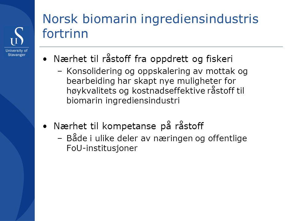 Norsk biomarin ingrediensindustris fortrinn
