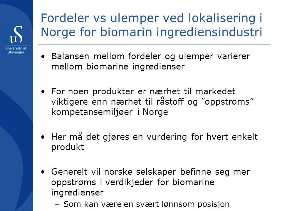 Fordeler vs ulemper ved lokalisering i Norge for biomarin ingrediensindustri