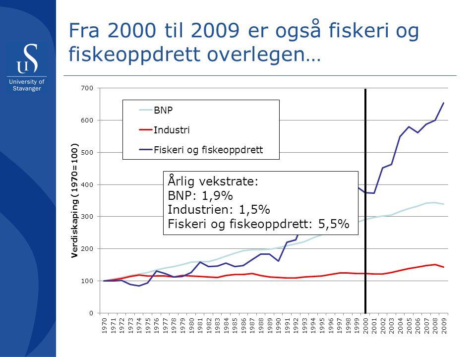 Fra 2000 til 2009 er også fiskeri og fiskeoppdrett overlegen…