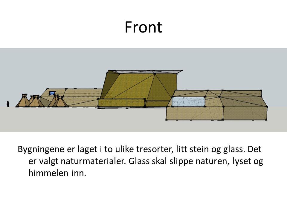 Front Bygningene er laget i to ulike tresorter, litt stein og glass.