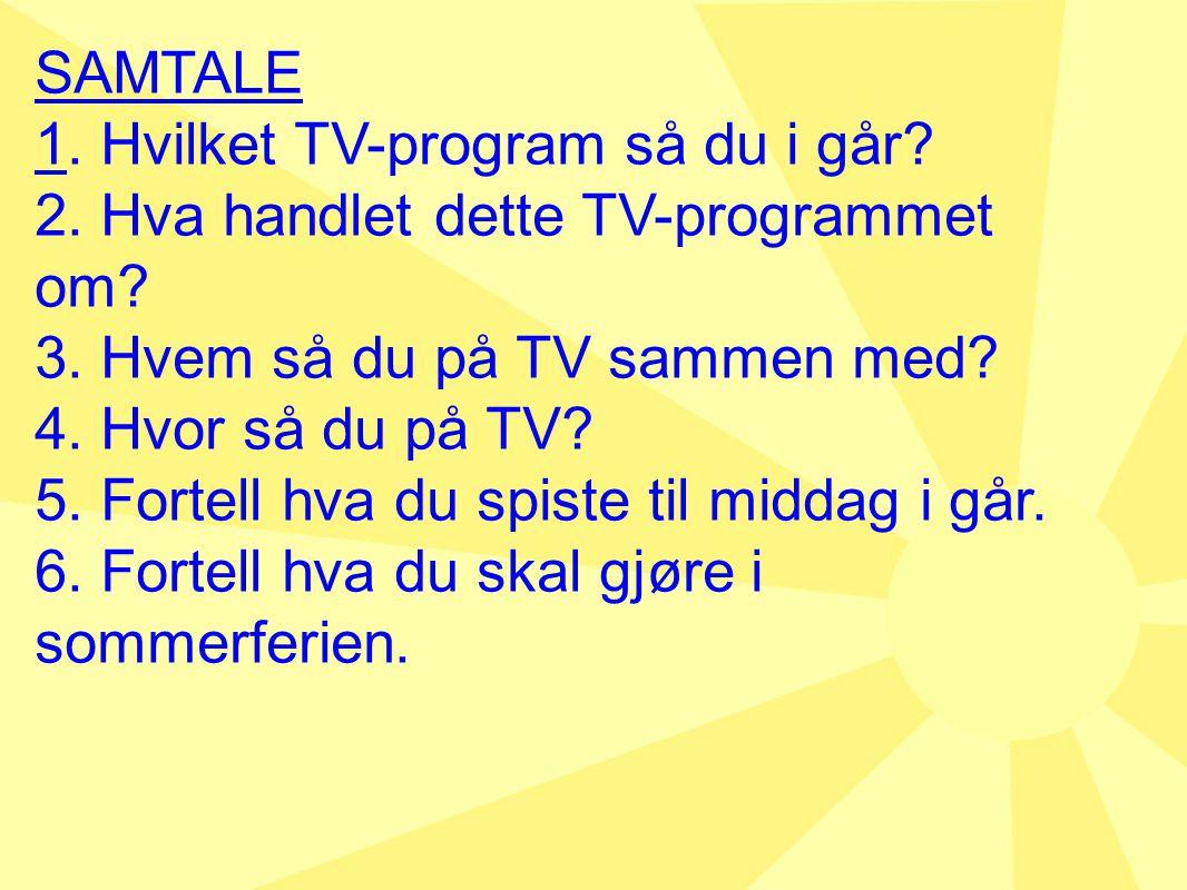 SAMTALE 1. Hvilket TV-program så du i går 2. Hva handlet dette TV-programmet om 3. Hvem så du på TV sammen med