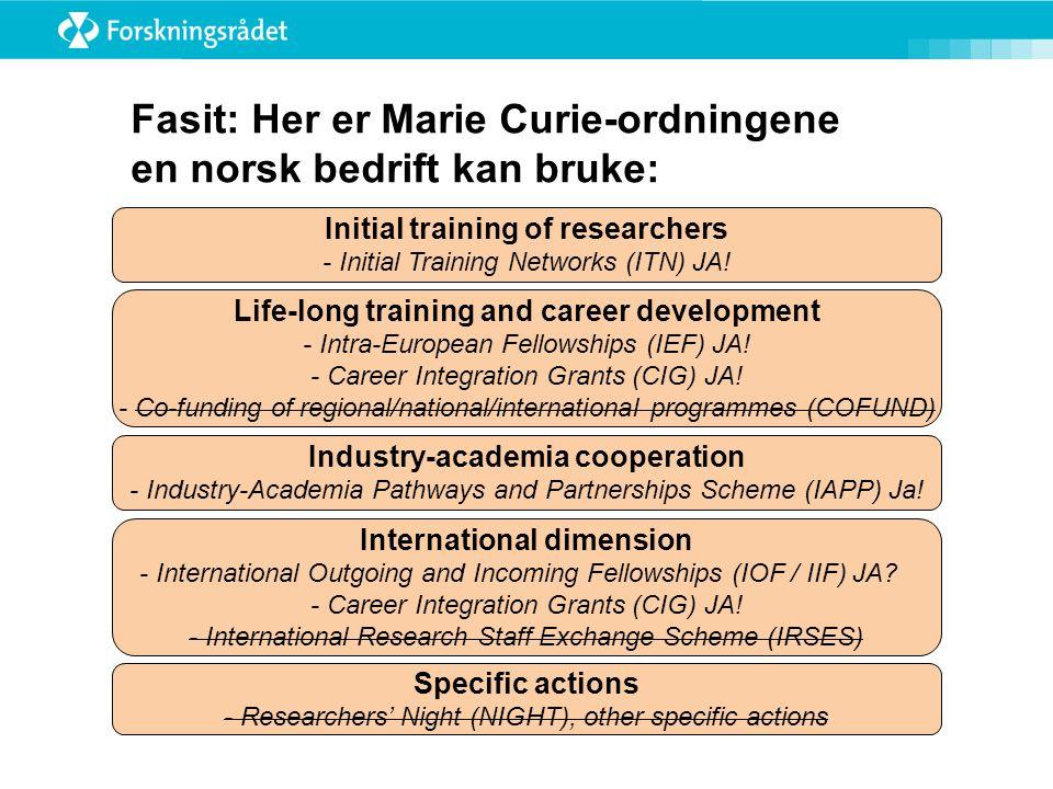 Fasit: Her er Marie Curie-ordningene en norsk bedrift kan bruke: