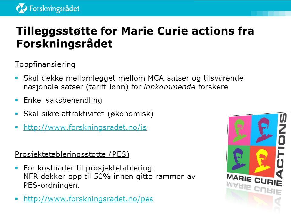 Tilleggsstøtte for Marie Curie actions fra Forskningsrådet
