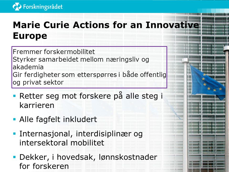 Marie Curie Actions for an Innovative Europe