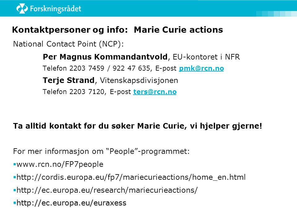 Kontaktpersoner og info: Marie Curie actions