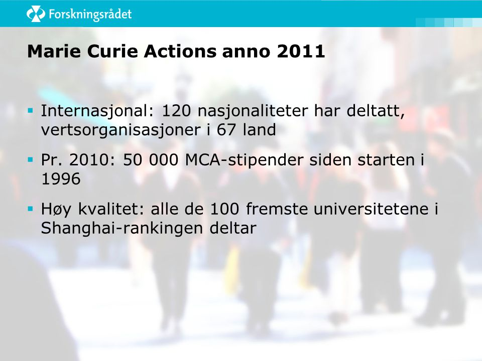 Marie Curie Actions anno 2011