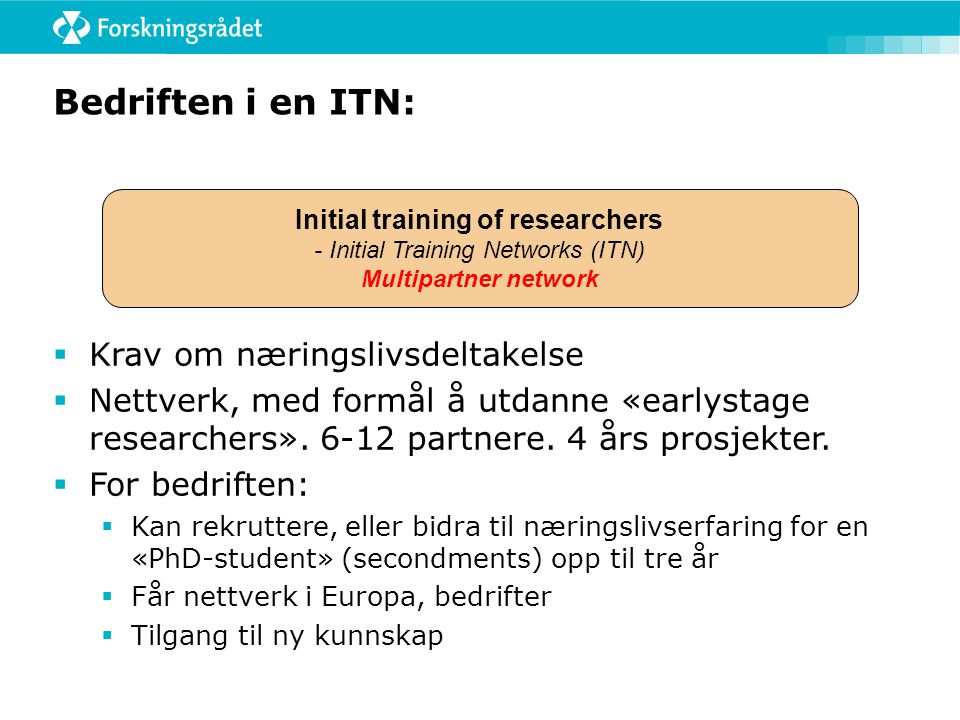 Initial training of researchers