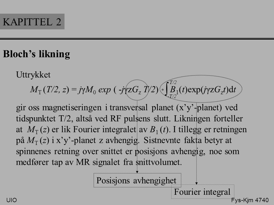 ∫ KAPITTEL 2 Bloch's likning Uttrykket