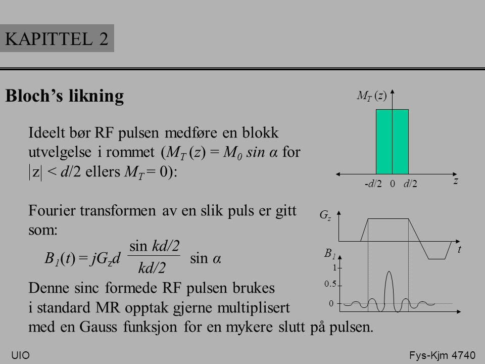 KAPITTEL 2 Bloch's likning Ideelt bør RF pulsen medføre en blokk