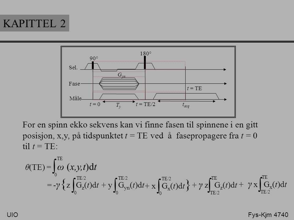 KAPITTEL 2 Sel. Fase. Måle. 90° 180° t = TE. t = TE/2. t = 0. Ty. tacq. Gyn. -γ{z Gz(t)dt.