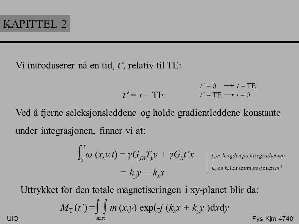 ∫ ∫ ∫ KAPITTEL 2 Vi introduserer nå en tid, t', relativ til TE: