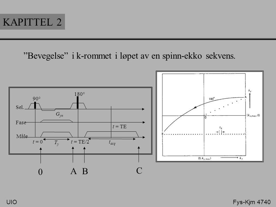 KAPITTEL 2 Bevegelse i k-rommet i løpet av en spinn-ekko sekvens. A